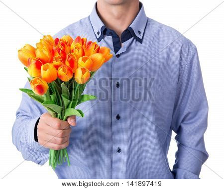 Business Man Holding Tulip Flowers Isolated On White