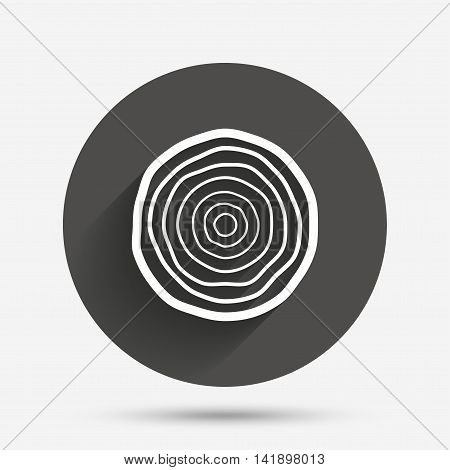 Wood sign icon. Tree growth rings. Tree trunk cross-section. Circle flat button with shadow. Vector