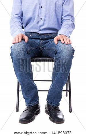 Business Concept - Man Sitting On Office Chair Isolated On White