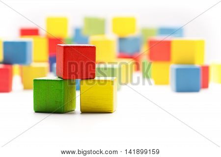 Toy Blocks Cubes Three Wooden Babies Building Boxes Empty Colored Cubics