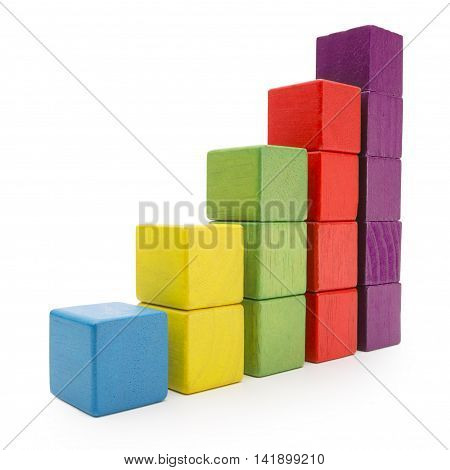 Toy Blocks Infographic Chart Stair Bar Multicolor Kids Bricks on White with clipping path