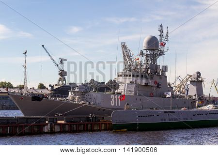 St. Petersburg - 7/31/2016: the warship on the mooring, a holiday (day of navy of the Russian Federation)