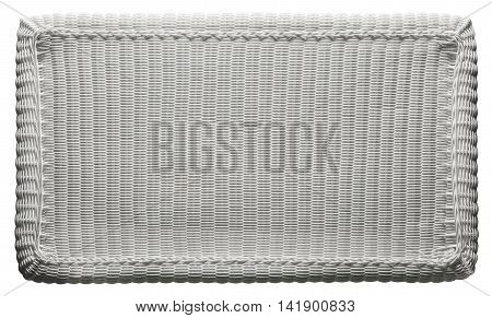 Basket Texture Weave Pattern White Wicker Table Top over White
