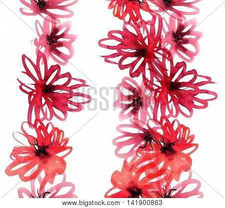 Watercolor and ink illustration of red flowers. Seamless pattern.