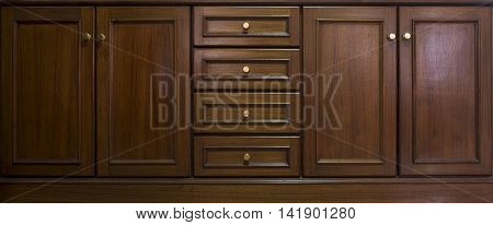 Front Kitchen Wooden Frame Cabinet Door And Drawers Made From Dark Wood