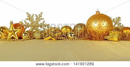Golden Christmas Decorations On A White