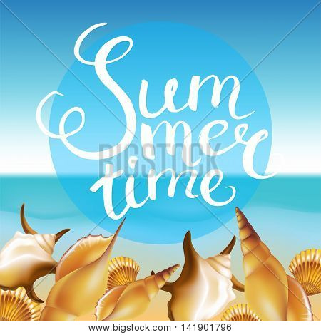 """Frame with Hand Drawn Calligraphic Word """"Summer time"""" on summer beach background. Vector illustration."""