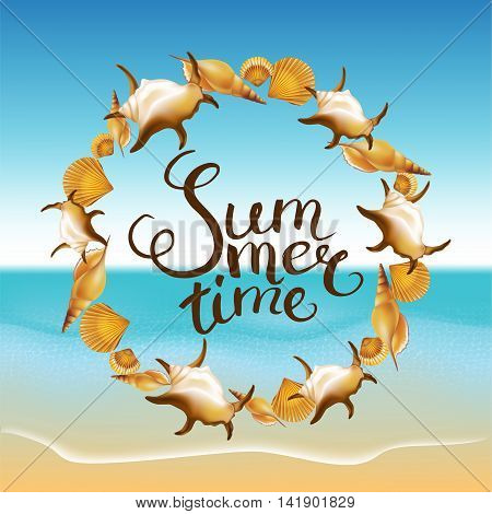"Frame with Hand Drawn Calligraphic Word ""Summer time"" on summer beach background. Vector illustration."