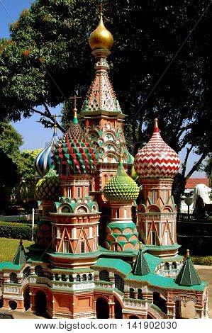 Pattaya Thailand - December 30 2005: Replica of St. Basil's Cathedral in Moscow's Red Square in miniature at Mini Siam outdoor theme park