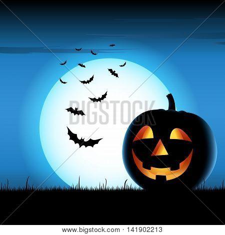 Grinning pumpkin with bats on blue backgound halloween vector eps 10
