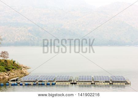 solar panels on the water at Srinakarin Dam in Thailand