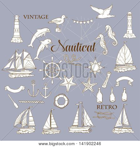 Set with nautical  elements ships and wheel, seahorse, sailing boats,  dolphin and sea knots. Hand drawn articles for summer holidays.Travel, marin and ocean. Vector Illustration