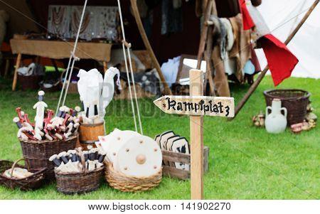 Mediaeval battle space on a medieval market