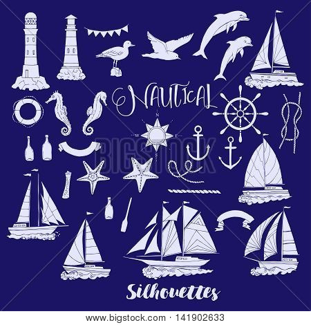 Set with nautical  silhouettes ships and wheel, seahorse, sailing boats,  dolphin and sea knots. Hand drawn articles for summer holidays.Travel, marin and ocean. Vector Illustration
