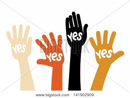 Symbol vote - raised his hands with the words Yes
