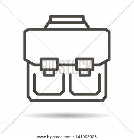 schoolbag flat icon on a white background