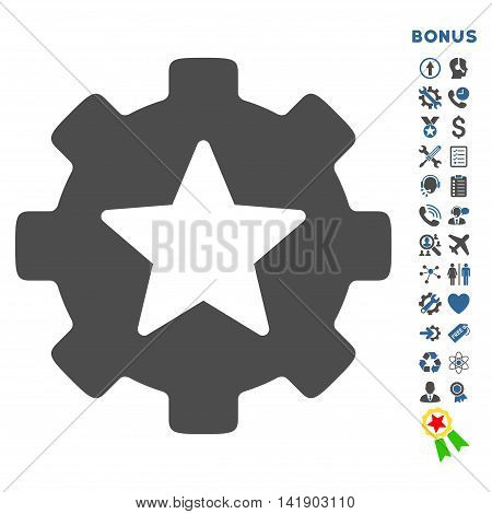 Favorites Options icon with bonus pictograms. Vector style is bicolor flat iconic symbol with rounded angles, cobalt and gray colors, white background.