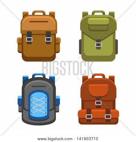Backpack Bag Flat Style Set. Vector illustration