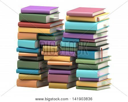 Book stacked in the form of font. Jn a white background. 3d rendering