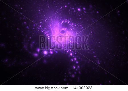 Supernova explosion. Abstract colorful pink and purple sparks on black background. Fantasy fractal texture for posters postcards or t-shirts.