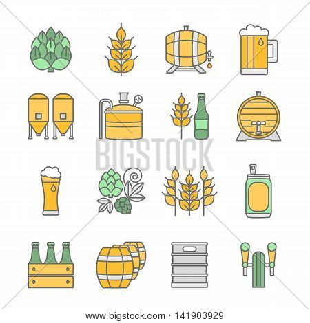 Big set of color thin line icons of brewery and different beer symbols for pub bar or other brewing related business isolated on background. Vector illustration. Octoberfest icon series.