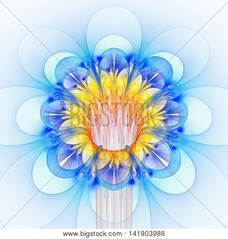 Abstract glowing colorful flower on white background. Fantasy blue orange and yellow fractal design for posters wallpapers postcards or t-shirts. Digital art. 3D rendering.