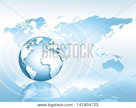 3D Internet Concept of global business. Globe, glowing lines on technological background. Electronics, Wi-Fi, rays, symbols Internet, television, mobile and satellite communicationsblue blur