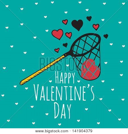 Valentines Day card with illustrated scoop-net and hearts. Vector illustrated colorful scoop-net with heart on blue background.