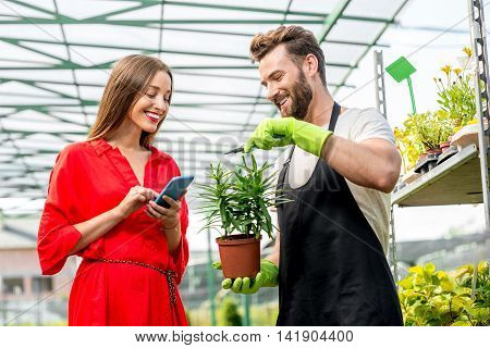 Handsome flower seller helping female buyer to choose a flower standing in the plant store. Woman using smartphone in the plant shop