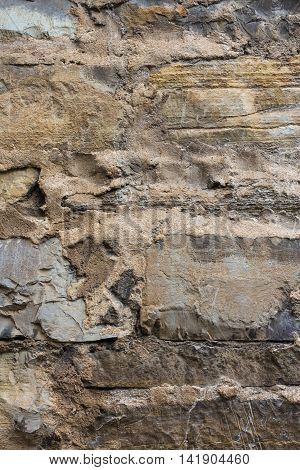 Old Wall Masonry With Different Sizes Smeared Joints