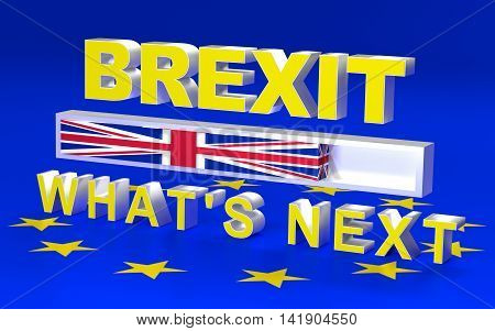 The text and loading bar symbolize GB leaving EU. Text written Brexit What's next. 3D rendering
