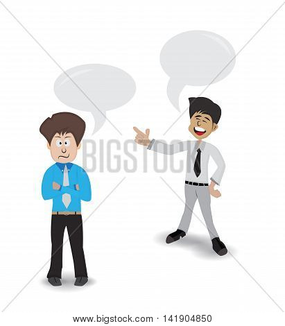 business man standing laughing at his friend