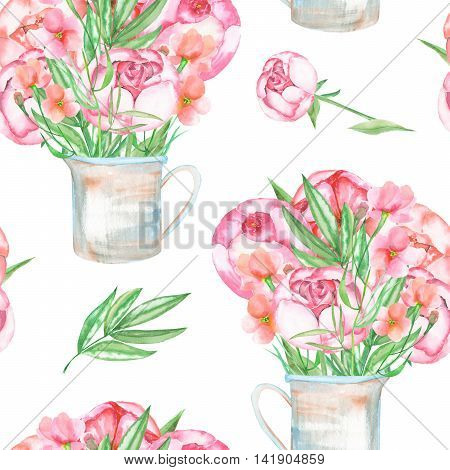 A seamless pattern with the red peonies flowers in a rustic jar, hand drawn in a watercolor on a white background