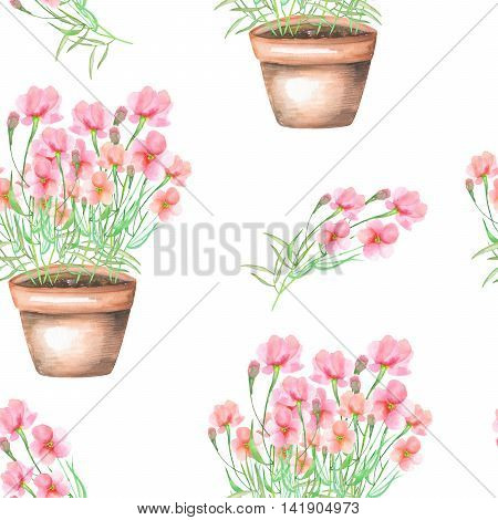 A seamless pattern with the pink flowers in a pot, hand drawn in a watercolor on a white background