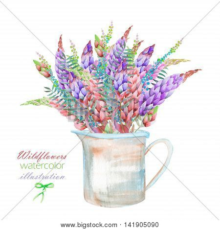 An illustration with a bouquet of the beautiful bright lupine flowers in a rustic jar, isolated hand drawn in a watercolor on a white background