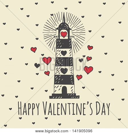 Valentines Day card with illustrated lighthouse. Vector illustrated colorful lighthouse with heart on beige background.