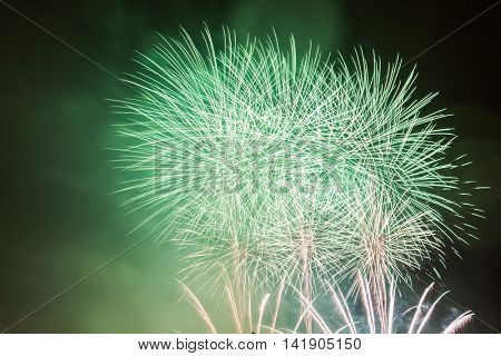 Spectacular fireworks show light up the sky. New year celebration background
