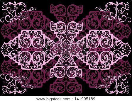 illustration with pink and lilac decoration on black background