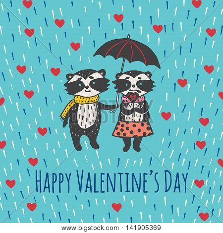 Valentines Day card with illustrated raccoon couple under umbrella. Vector illustrated colorful raccoon couple with umbrella on blue background.