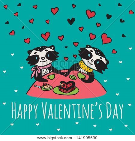 Valentines Day card with illustrated raccoon couple drinking tea. Vector illustrated colorful raccoon couple on blue background.