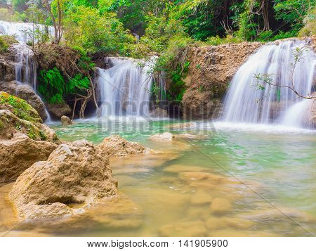 Deep forest waterfall at Namtok thi Lo Su waterfall National Park Umphang Tak Province Thailand