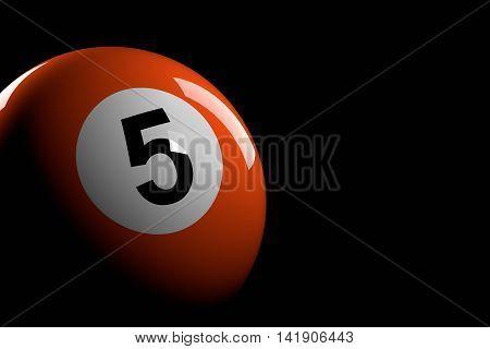 Pool Ball Number 5, 3D Rendering