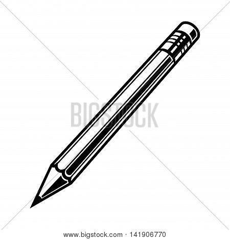 Pensil black on white background vector illustration