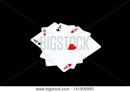 Ace of hearts and other ace on black background