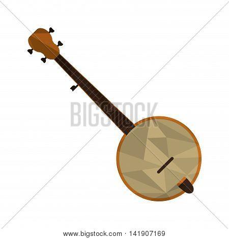 flat design polygon texture banjo icon vector illustration