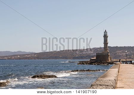 The lighthouse at Chania Crete Greece on a summer day
