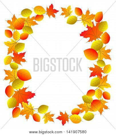 Autumn wreath with yellow, orange and red leaves isolated on white