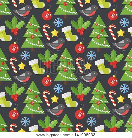 Christmas background vector seamless pattern with christmas elements- tree bullfinch and socks