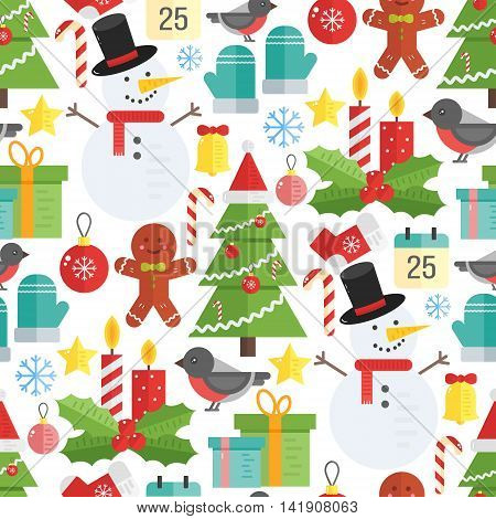 Christmas background vector seamless pattern with christmas elements