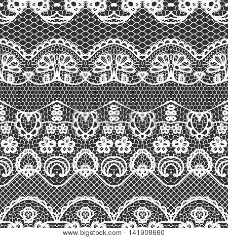 Lace white seamless pattern with flowers on black background